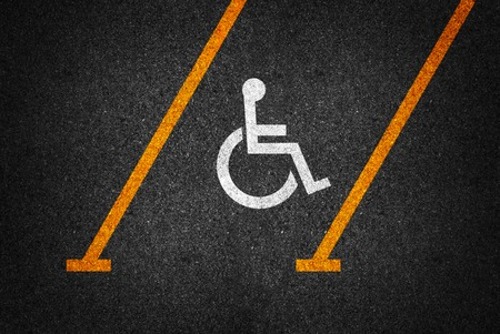 physical impairment: handicapped parking spot. Stock Photo