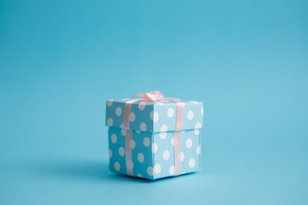 Gift box with Blue background.