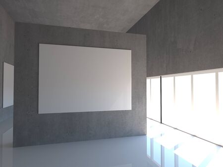 Empty white 3d modern room