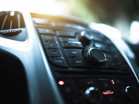 Modern car interior radio panel