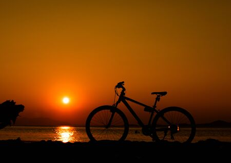 Bicycle on the Baltic seacoast at sunset