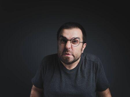 Portrait of glasses mid adult series on studio shot Фото со стока