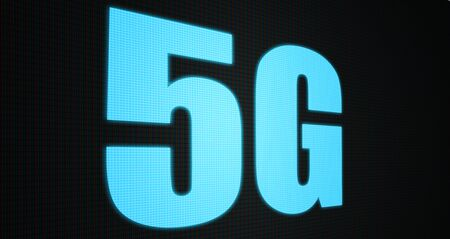 5G new wireless internet wifi connection. Big data binary code flow numbers.