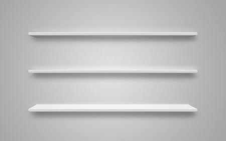 White empty shelf on white wall
