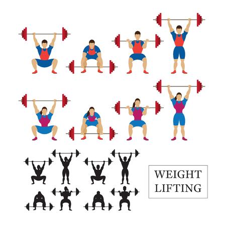 levantamiento de pesas: Levantamiento de pesas Atleta, hombres y mujeres, Arrancada, Dos Tiempos, postura