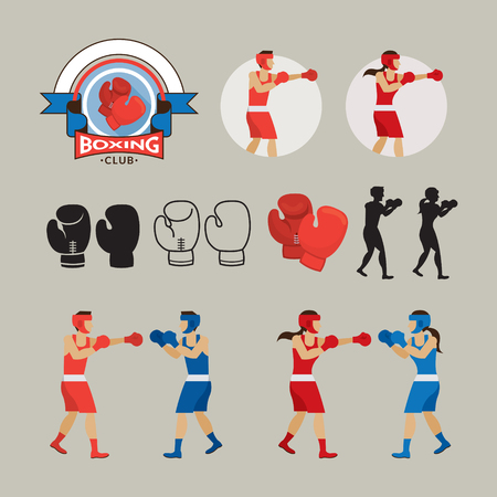 boxing gloves: Boxing Graphic Elements, Boxer, Boxing Gloves, Badge, Icon