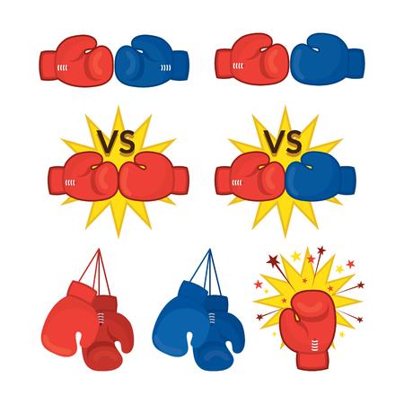 Guantes de boxeo rojos y azules, Versus, Fuera de combate, Lucha, Quit