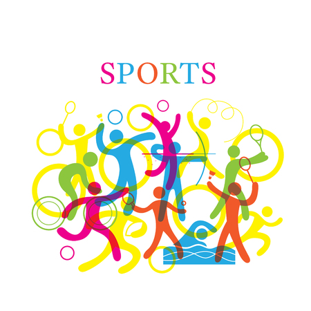 Sports Colorful Illustration, Sports, athletics, Games, Symbol, Include Transparency