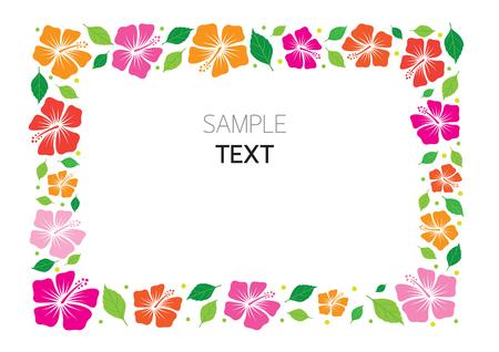 Hibiscus Frame, Flowers, Tropical, Summer, Border,