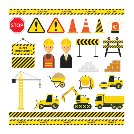 brick and mortar: Construction Objects Set, Worker, Equipment, Vehicles