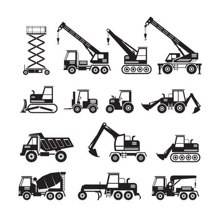 建設車両オブジェクトのシルエットを設定、側面ビュー、重機、機械、工学  イラスト・ベクター素材