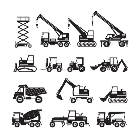 Construction Vehicles Objects Silhouette Set, Side View, Heavy Equipment, Machinery, Engineering Vectores