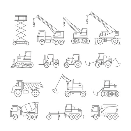 heavy construction: Construction Vehicles Objects Line Set, Side View, Heavy Equipment, Machinery, Engineering Illustration