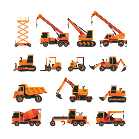 Construction Vehicles Objects Orange Set, Side View, Heavy Equipment, Machinery, Engineering Illustration
