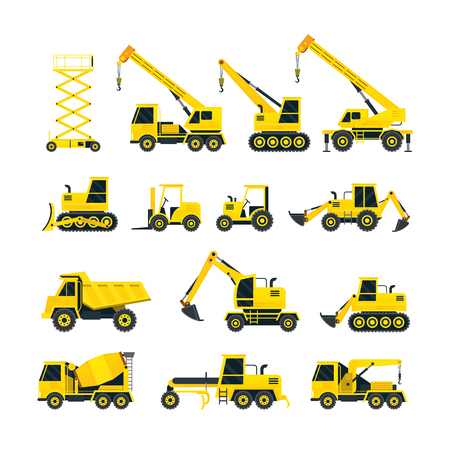 Construction Vehicles Objects Yellow Set, Side View, Heavy Equipment, Machinery, Engineering Illustration
