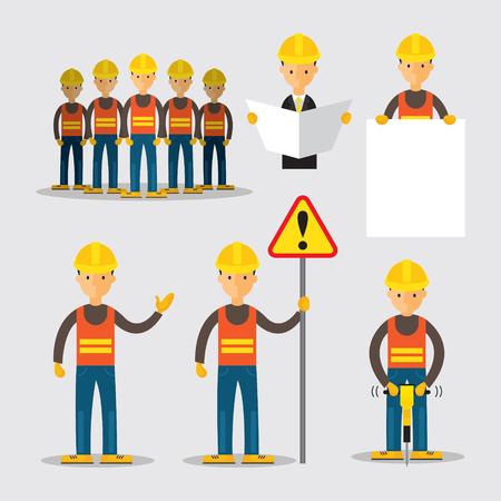 Ouvrier du bâtiment Personnes Set, ingénieur, constructeur, Métier Vecteurs