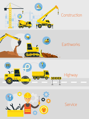 Construction Banner Concept Set, Earthworks, Highway, Service