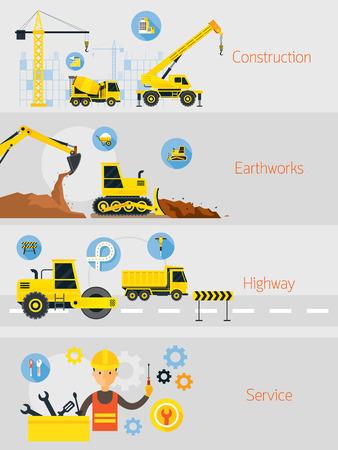 Construction Banner Concept Set, Earthworks, Highway, Service