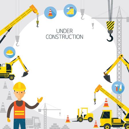 construction frame: Under Construction Frame, Worker, Equipment, Vehicles Illustration