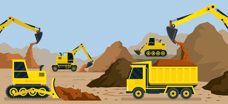 heavy construction: Construction, Earthworks, Quarry, Background, Vehicles, Heavy Equipment on Site
