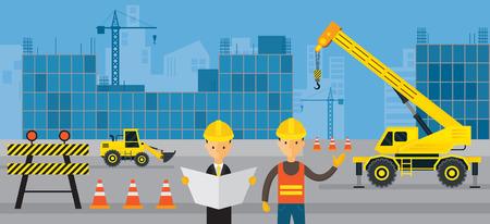 Baustelle, Arbeiter mit Ingenieur, Hintergrund, Fahrzeuge, schwere Maschinen, Gebäude