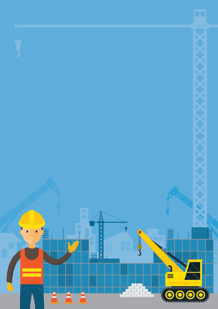 heavy construction: Worker and Construction Background, Frame, Vehicles, Heavy Equipment, Building