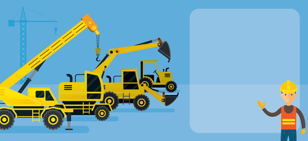 heavy construction: Worker with Construction Vehicles Background, Frame, Heavy Equipment, Machinery, Engineering