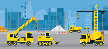 heavy construction: Construction Vehicles on Site, Background, Heavy Equipment, Machinery, Engineering Illustration