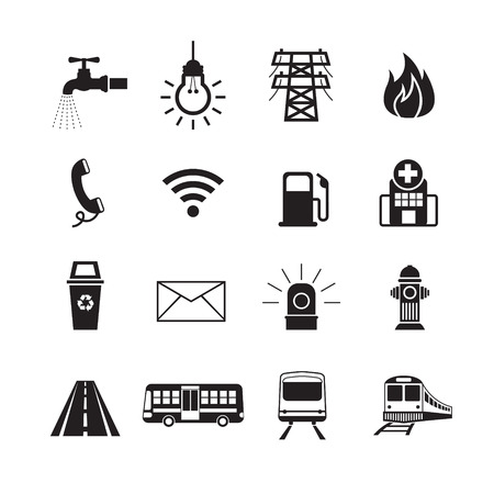 water supply: Public Utility Icons Silhouette Set, Water Supply, Electricity, Fuel, Road and Transport Illustration