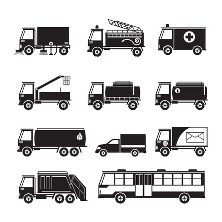 water supply: Public Utility Vehicles Object Silhouette Set, Waste, Oil, Water Supply, Electricity, Emergency, Truck and Bus