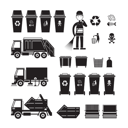 Waste Collection truck, bin, sweeper, Symbol Object Silhouette Set Illustration