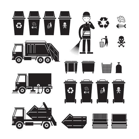 Waste Collection vrachtwagen, bin, veegmachine, symbool object Silhouette Set
