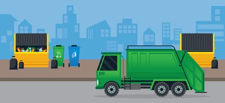 refuse bin: Waste or Garbage Truck Management in City, Urban Background