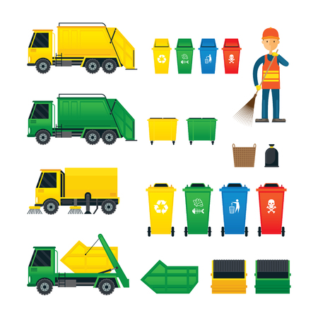 hazardous waste: Waste Collection, Truck, Bin, Sweeper, Symbol Object Colour Set