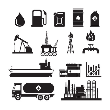 oil and gas industry: Oil Industry Object Silhouette Set, Gas, Petroleum, Fuel, Refinery