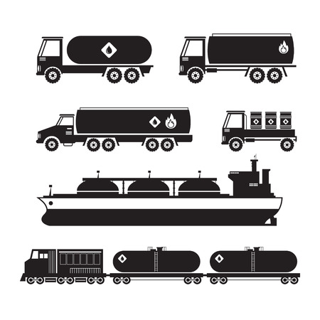 tanker ship: Oil Industry Vehicles, Transportation Silhouette Set, Truck, Tanker Ship and Train, Side View