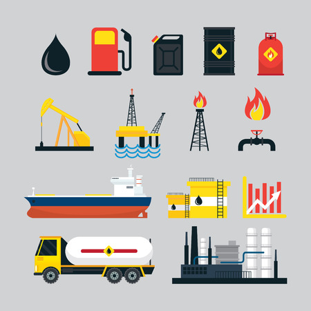 oil and gas industry: Oil Industry Object Set, Gas, Petroleum, Fuel, Refinery