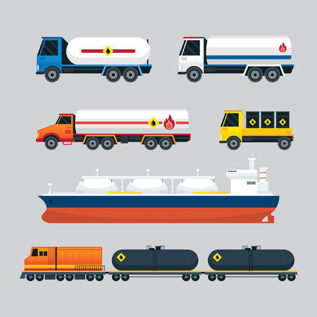 tanker ship: Oil Industry Vehicles, Transportation Set, Truck, Tanker Ship and Train, Side View