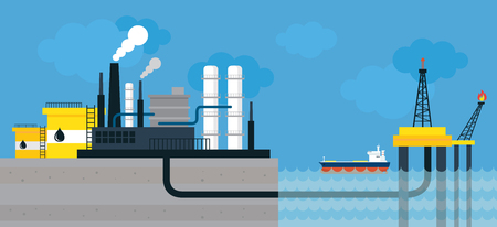 Oil Refinery Land and Offshore Illustration