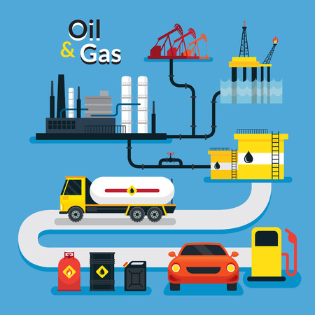 Oil and Gas Industry Management, Infographic, Processing and Service Vetores