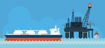 petroleum fuel: Oil Rig and Tanker Ship Side View, Gas, Petroleum, Fuel, Background Illustration