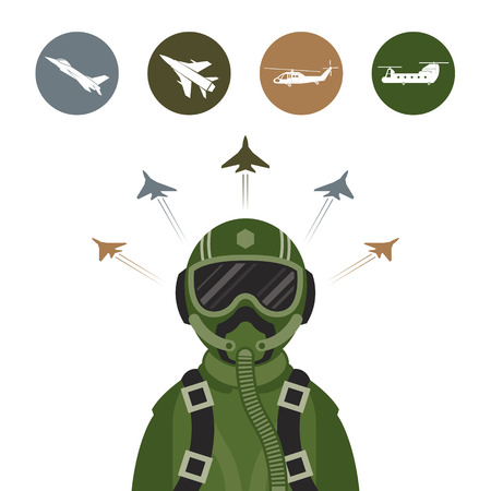 airman: Military Fighter Jet Pilot with Military Aircraft Icons and Symbols Illustration