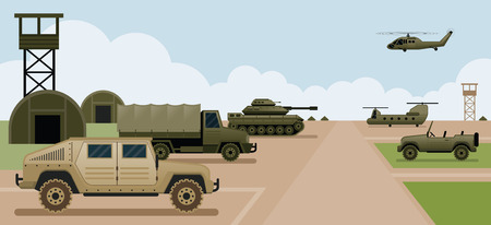 Military Base Camp, Side View with Army and Air Force Vehicles Illustration