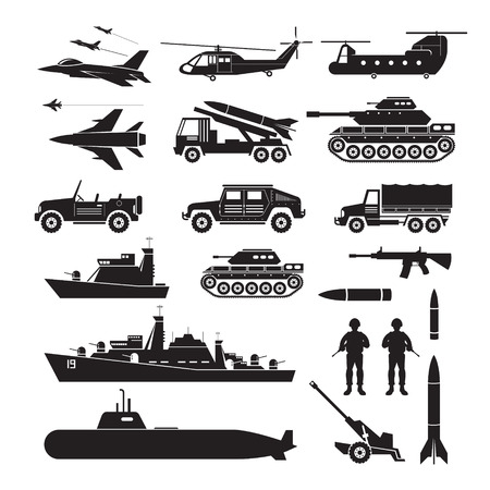 Military Vehicles Object Silhouette Set, Side View, Army, Air Force, Navy, Marine, Black and White Icons and Symbols Vektorové ilustrace