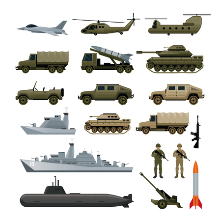 Véhicules militaires objet Set, Vue latérale, Armée de terre, Armée de l'Air, Marine, Marine, icônes