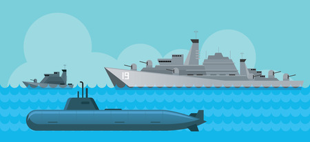 Warship and Submarine, Side View in the Sea, Navy, Patrol Ship, Flat Design Objects Illustration