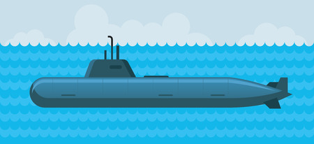 patrol: Military Submarine under Water, Navy, Patrol, Flat Design Objects