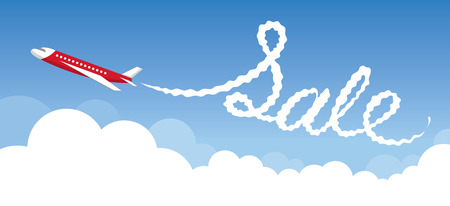 airway: Plane with White Trail Smoke, Sale Text, Airline, Airway, Travel, Event, Promotion,