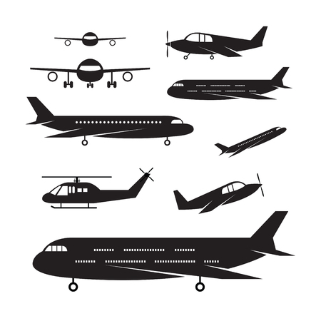 jumbo: Plane, Light Jet Objects silhouette Set, Aircraft, Commercial Aviation, Aerial Transport