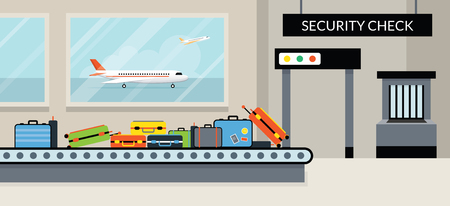 security check: Airport Terminal Security Check, Aircraft, Commercial Aviation, Aerial Transport Illustration